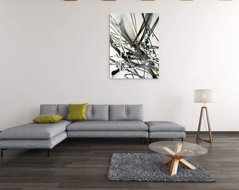 Canvas painting modern abstract canvas art white black contemporary street art spray