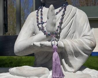Long necklace, Czech glass beads, pompon, shabby chic