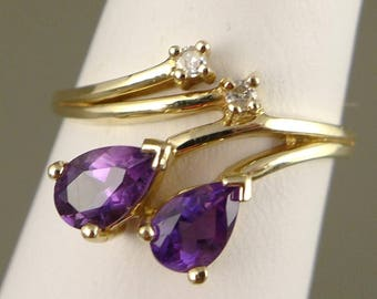 Gold Amethyst Ring, Vintage 14K Gold Amethyst Ring With Diamond Accents, Pear Shaped Amethyst
