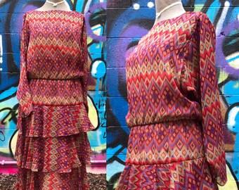 W26+ / 1970s does 1920s DIANE FREIS Inspired Day Dress