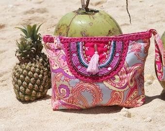 Pouch tassels/Clutch bag/Pom Pom pouch/Hippie clutch/Make up bag/Travel pouch/Boho clutch * IPANEMA POUCH
