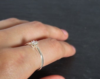 Dainty 4mm aquamarine stacking ring, small genuine aquamarine stacking ring, real aquamarine gemstone ring