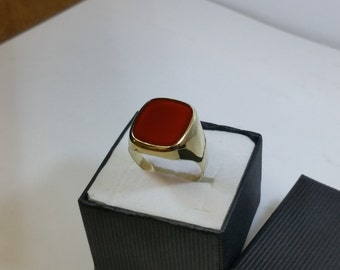 Old ring 333 gold simply elegant carnelian GR100