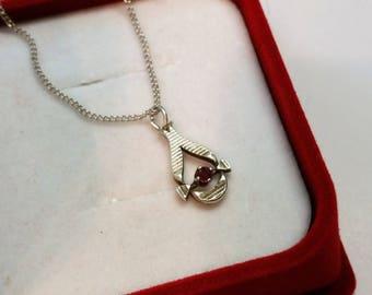 Pendant silver 835 Rubin shabby vintage K & L old rar SK655