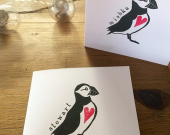 Personalised Hand Printed Puffin and Heart Greetings Card - Block Printed on Recycled White Card