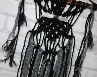 Wall hanging,macrame wall hanging,crystal wall hanging,boho decor,pagan decor,pagan altar decor,wicca,witchcraft,wall hanging,black and grey