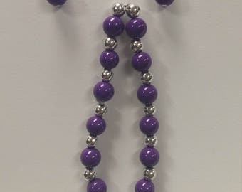 Earring and Bracelet Set - Purple and Silver Tone.