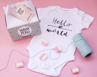 Hello World | Personalized onesie gift idea with packaging