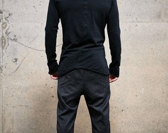 Distorted Black Top / Kinetic Black Blouse / Urban Mens Clothing / Bonded Shirt / Asymmetric Mens Clothes by POWHA
