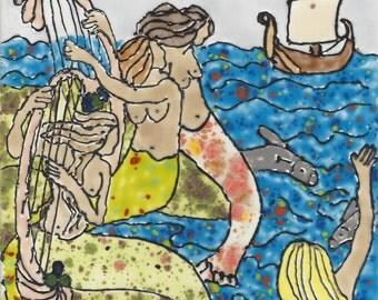 Mermaid #249 Farewell Hand Painted Kiln Fired Decorative Ceramic Wall Art Tile 8 x 6