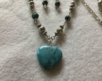 Genuine Turquoise Heart Necklace with Sterling Silver Chain, Magnetic Clasp and Matching Earrings