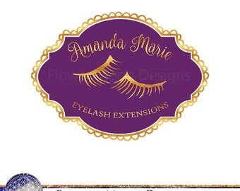 Premade eyelash logo lash bar lash business logo eyelashe extensions logo minky lashes gold foil esthetics logo spa logo beauty logo custom
