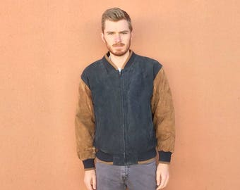 90s Color Block Suede Leather Jacket sz L ~ Vintage Normcore Style ~ Black & Brown ~ Seinfeld Paperboy ~ Quilted Lined ~ Size LARGE
