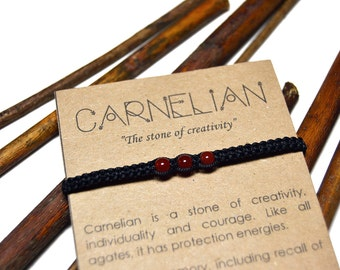 Carnelian bracelet. Handmade macrame bracelet. Gemstone, stone, crystal. Gift with meaning, card. Magic jewelry, jewellery. Healing.