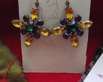 E-0354 - Swarovski Crystal Cross Earrings - Georgian Earrings, Reenactor, Regency, Victorian Earrings, Vintage Earrings