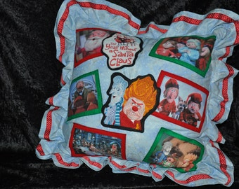 """New! 20"""" x 20"""" LARGE - """"The Year Without A Santa Claus""""  - Heat Miser -Cold Miser Christmas Movie Themed Pillow - Embroidered Picture photos"""