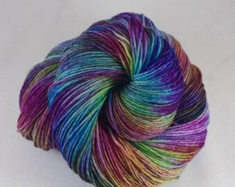 Hand Dyed Sock Yarn 100% superwash extrafine merino, hand dyed wool, variegated sock yarn, pink, purple, green, blue, yellow, rainbow