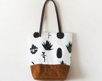 Succulents cactus print waxed brown canvas tote bag with leather handle