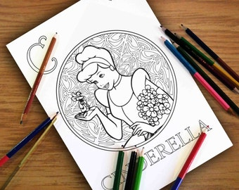 Disney Coloring Pages Cinderella Gift For Kids Sheets PDF