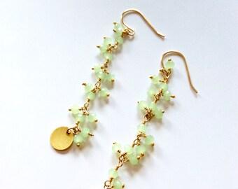 Green chalcedony earrings/ Pastel green earrings/ Genuine gemstone earrings/Cascade earrings/ Long drop earrings /Gift for her