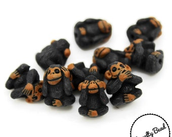 10 - Small - Hear No Evil - See No Evil - Speak No Evil - Monkey Beads -Novelty Beads - Ceramic