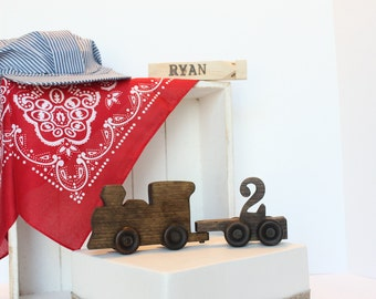 Old-fashioned Wood Toy Train Cake Topper, Vintage looking, Engine and Number Cart, Train Engineer, Personalized, Branded, Conductor, 1 - 5