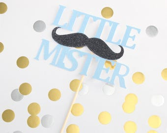Little Mister Mustache Baby Blue and Black Glittery Pick Cake Topper, Birthday, Baby Shower, Cake Smash, Celebrate, OverTheTopCakeTopper