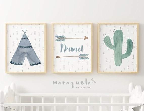 Customized Indian SET, Tribal illustrations for kids and Babies. Teepee,Arrow and Cactus