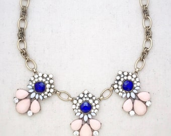 Statement necklace, pink statement necklace, blue statement necklace, gold statement necklace, crystal statement necklace, necklaces, gift
