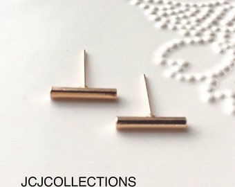 Tiny Rose Gold Bar Earrings, Simple
