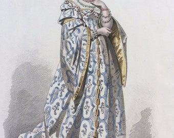 Hand-coloured original antique print by Francois Claudius Compte-Calix - Historical Costume - Epoque de Francois I - French Fashion