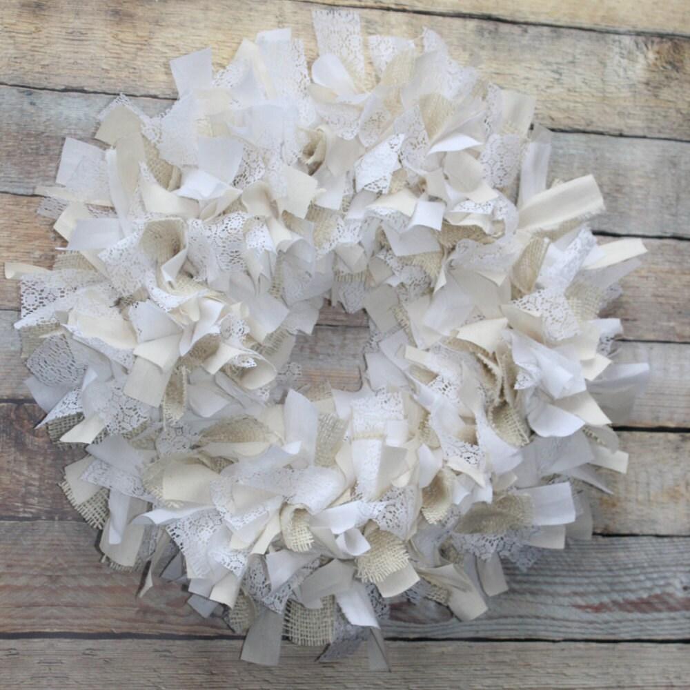 Burlap and lace wreath rustic decor neutral home decor for Lace home decor