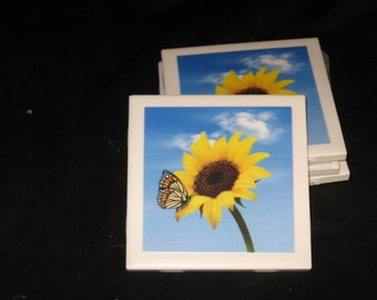 Sunflower Coaster, Butterfly Coaster, Coasters, Ceramic Tile Coasters, Drink Coasters