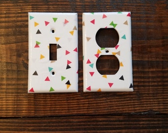 Triangle Light Switch And Outlet Covers | Triangles - Set Of 4 - Modern Baby - Nursery Decor - Geometric - Home Decor - Triangle Confetti