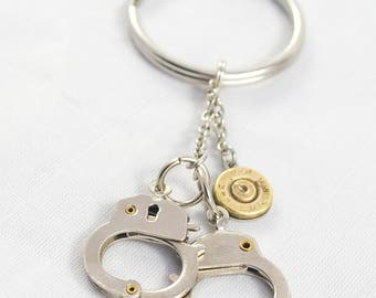 Key Ring, Handcuff Key Ring, Bullet Key Chain, Police Gift, Custom Key Ring, Ammunition accessory, Fun Unique key ring, 2nd amendment,