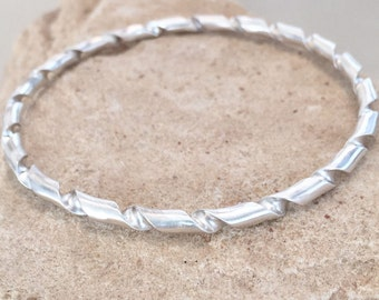 Sterling silver bangle bracelet, twisted bangle bracelet, stackable sterling silver bracelet, stackable bracelet, sterling silver bracelet