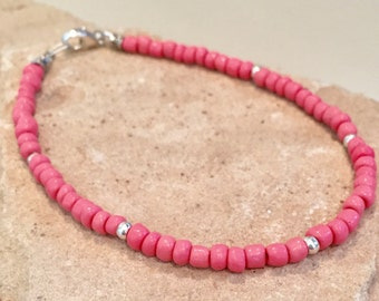 Pink seed bead anklet/ankle bracelet, Hill Tribe silver anklet, small anklet, body jewelry, boho anklet, minimalist ankle, gift for her