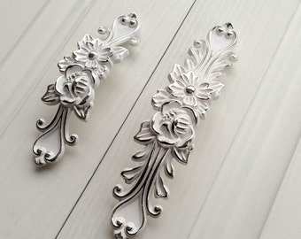 "3.75"" 5""Shabby Chic Dresser Drawer Pulls Handles White Silver / French Country Kitchen Cabinet Handle Pull Antique Furniture Hardware"