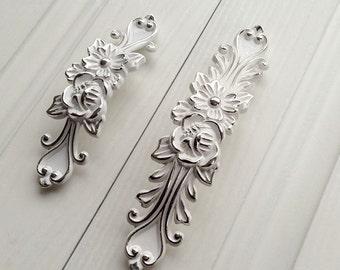 375u201c chic dresser drawer pulls handles white silver french country kitchen