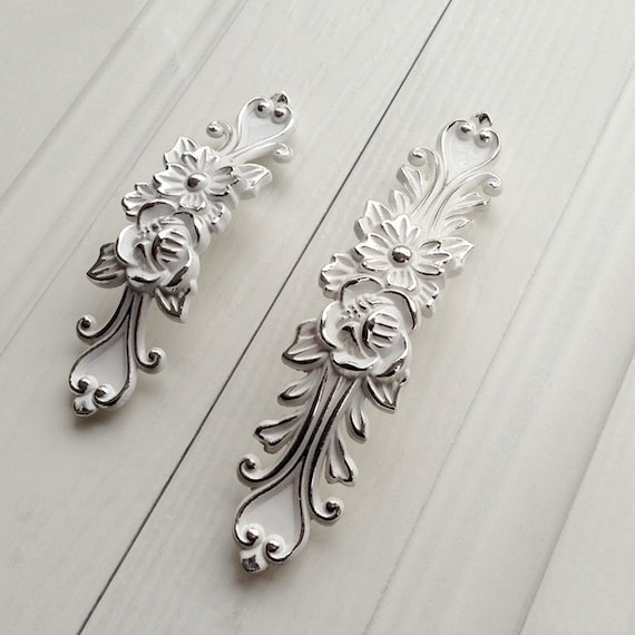 "3.75"" 5""Shabby Chic Dresser Drawer Pulls Handles White Silver / French Country Kitchen Cabinet"