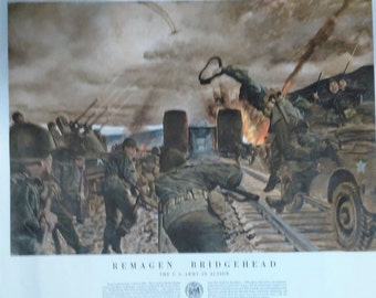 """Armed Forces Information Poster/Revised 1954/Remagen Bridghead/U.S. Army In Action/20"""" By 24""""/ #1 Pride Of Serivce"""