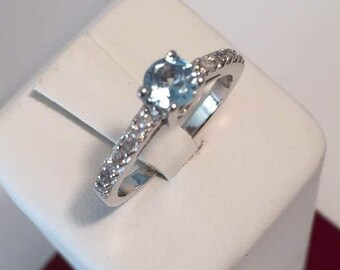 1/2 Ct Blue Topaz Ring Cubic Zirconia in Sterling Silver