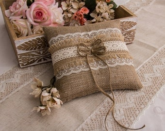 Burlap and Lace Ring Bearer Pillow, Rustic Ring Pillow, Cottage Chic Ring Bearer Pillow, Burlap Wedding Ring Pillow