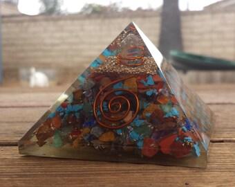 Extra Large (70-75mm) 7 CHAKRA MIXED Orgone Gemstone Pyramid X-Large Pyramid Orgone