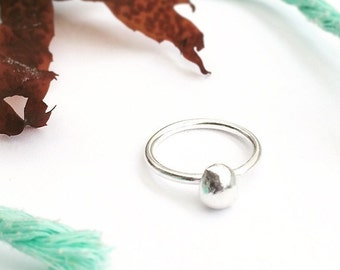Silver Ring - Silver Pebble Ring - Sterling Silver Ring -Solid Silver Pebble Ring - Silver Stacking Ring - Silver Statement Ring - Nugget