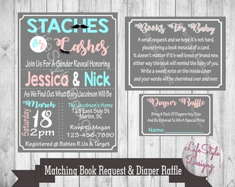 Stashes or Lashes - Gender Reveal Invitation - He Or She - Gender Reveal Party - Pink Or Blue - Baby Shower - Diaper Raffle - Printable