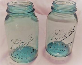 Two (2) Vintage 1910-1923 BALL Perfect Mason Blue Quart Canning Jar