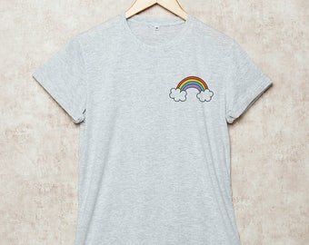 Rainbow Shirt Pocket T Shirts Cute T-Shirt Funny Tee Size S , M , L , XL , 2XL , 3XL Grey White