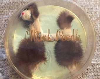 Vintage genuine mink poodle brooch in original package