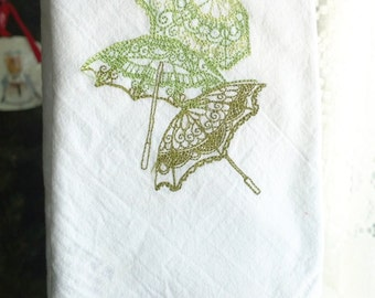 Delicate Parasols Tea Dish Towel PREMIUM